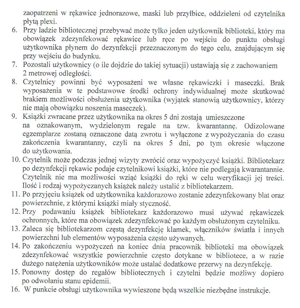 Zarządzenie oraz procedury dotyczące obsługi czytelnika po wznowieniu działalności bibliotek