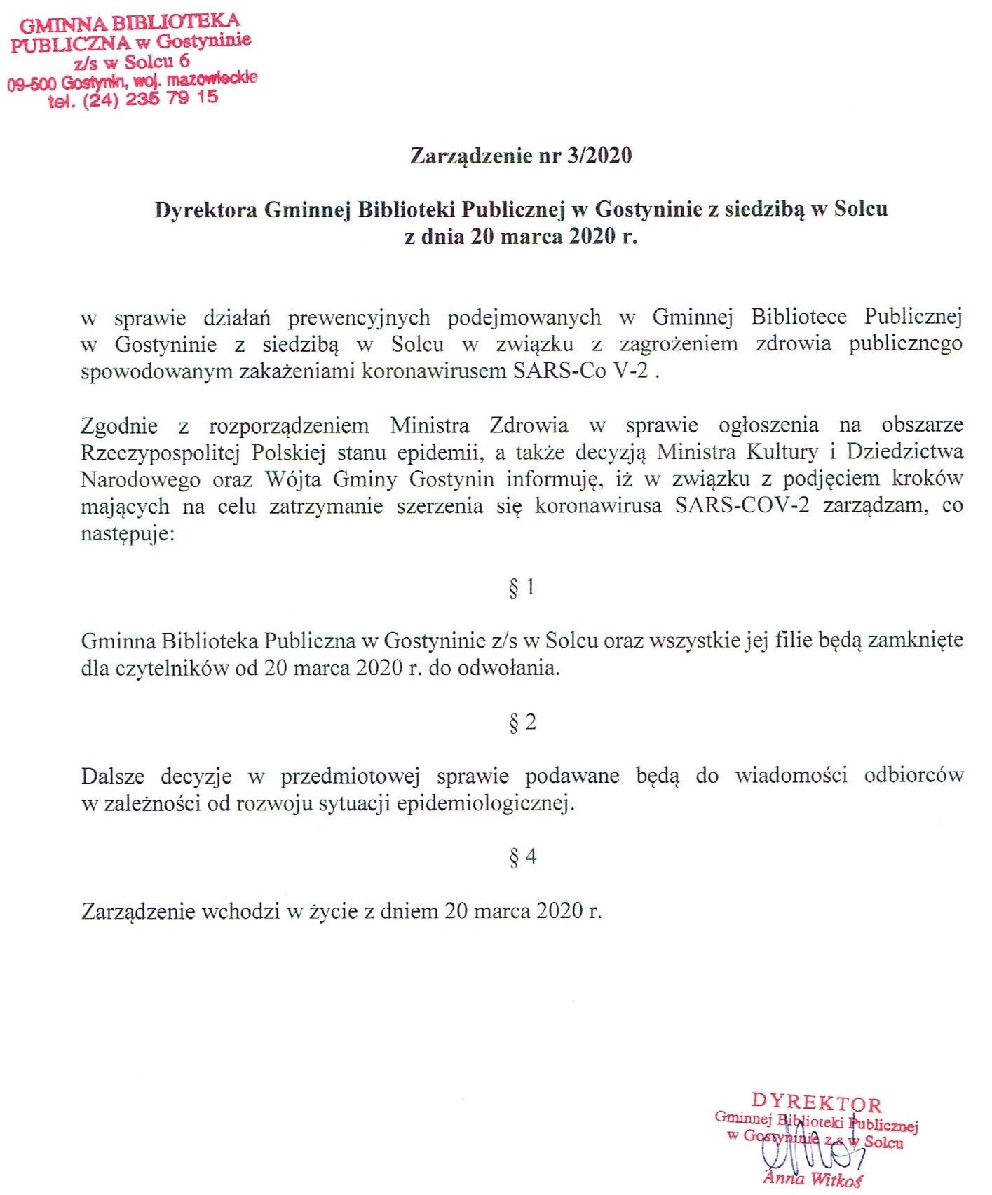 Zarządzenie Dyrektora Gminnej Biblioteki Publicznej w Gostyninie z siedzibą w Solcu w sprawie działań prewencyjnych związanych z koronawirusem SARS-Co V-2