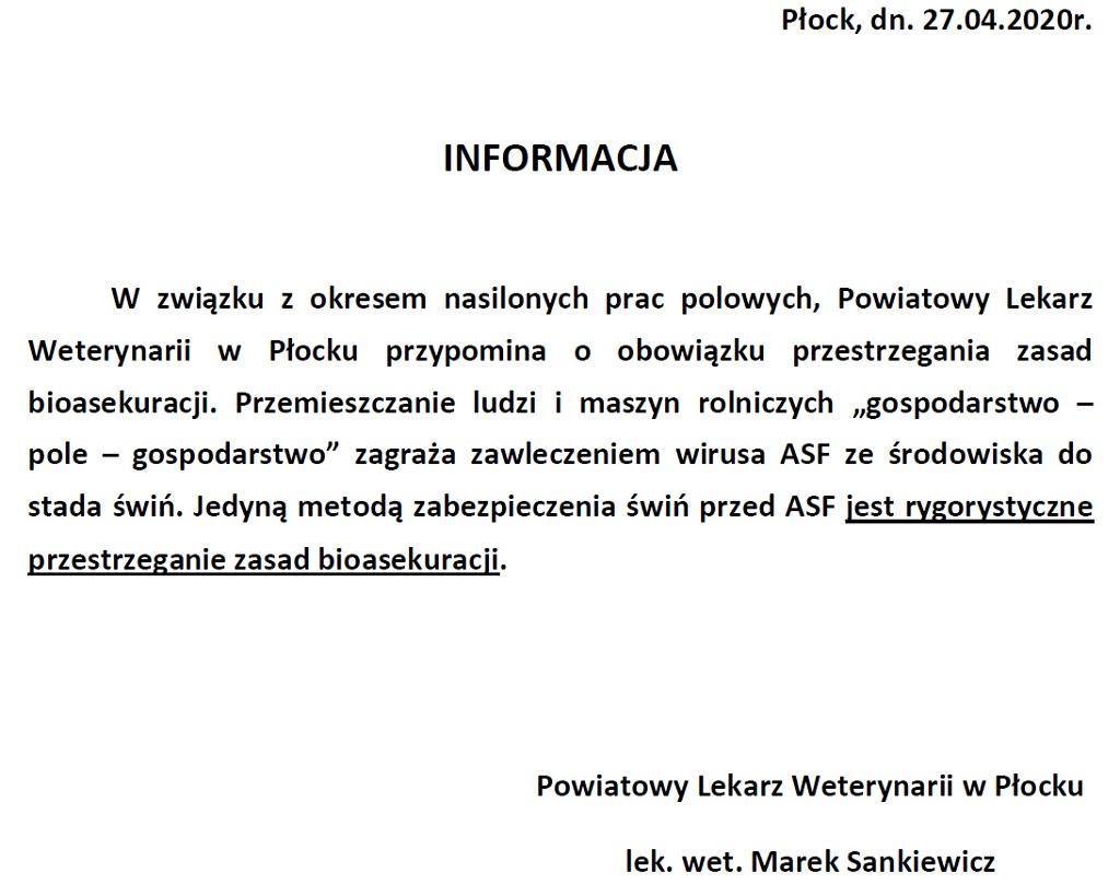 Informacja ASF