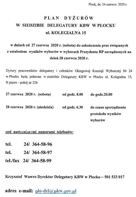 Plan dyżurów w siedzibie Delegatury KBW w Płocku ul. Kolegialna 15