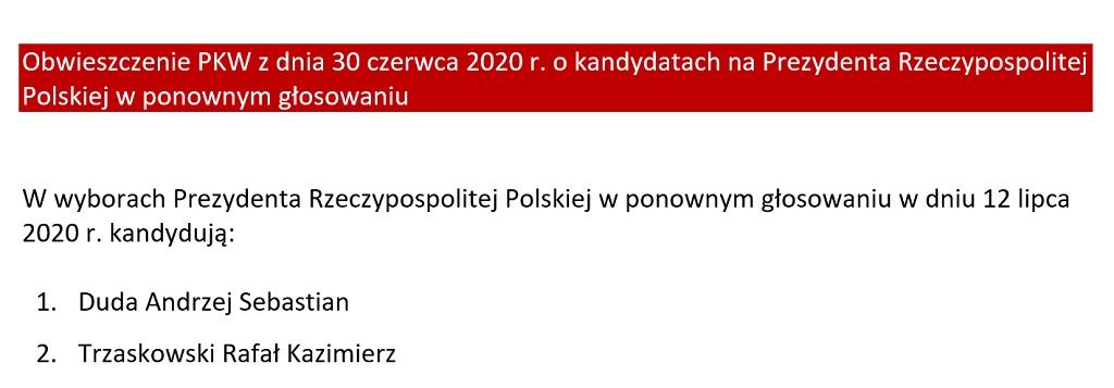 Obwieszczenie PKW z dnia 30 czerwca 2020 r.