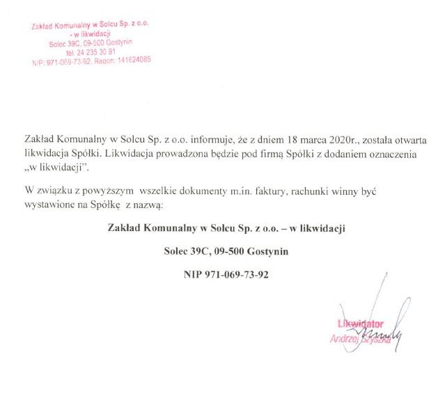 Informacja Zakładu Komunalnego w Solcu sp. z o. o.