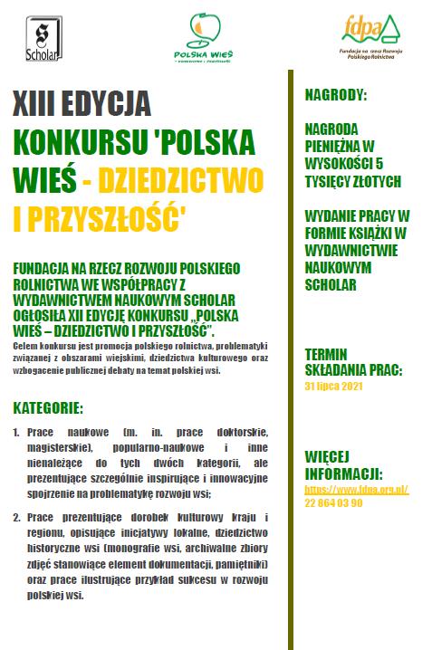 """konkursu """"Polska wieś – dziedzictwo i przyszłość""""-"""